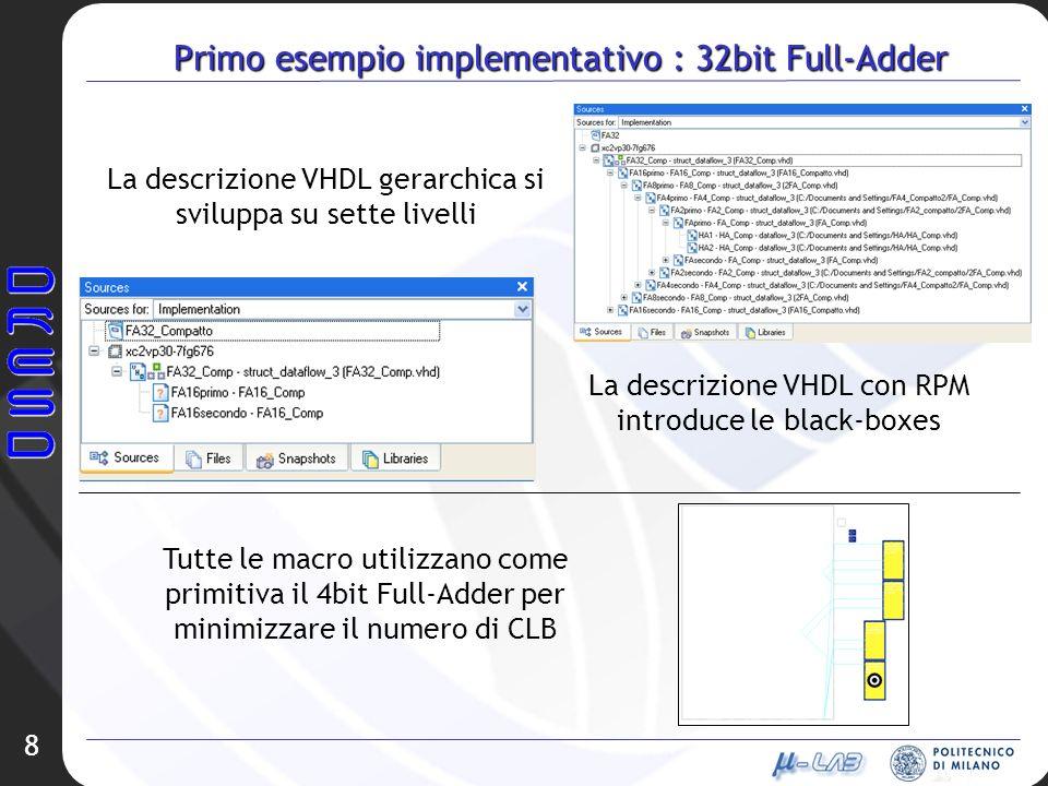 8 Primo esempio implementativo : 32bit Full-Adder La descrizione VHDL gerarchica si sviluppa su sette livelli La descrizione VHDL con RPM introduce le