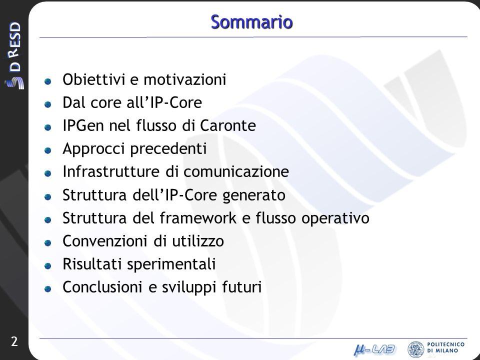 2 Sommario Obiettivi e motivazioni Dal core allIP-Core IPGen nel flusso di Caronte Approcci precedenti Infrastrutture di comunicazione Struttura dellI
