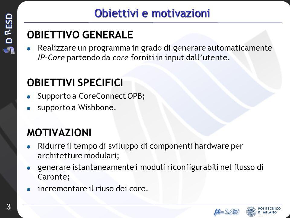 3 Obiettivi e motivazioni OBIETTIVO GENERALE Realizzare un programma in grado di generare automaticamente IP-Core partendo da core forniti in input da