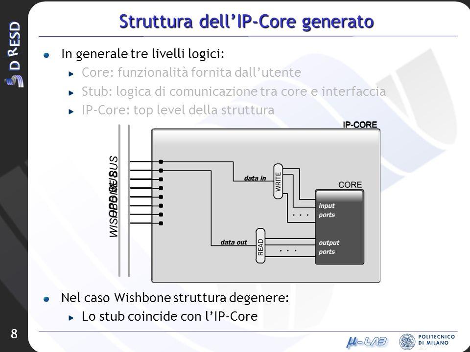 8 Struttura dellIP-Core generato In generale tre livelli logici: Core: funzionalità fornita dallutente Stub: logica di comunicazione tra core e interf