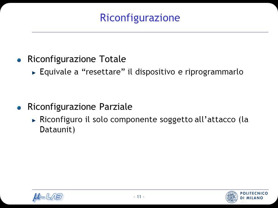 - 11 - Riconfigurazione Riconfigurazione Totale Equivale a resettare il dispositivo e riprogrammarlo Riconfigurazione Parziale Riconfiguro il solo componente soggetto allattacco (la Dataunit)