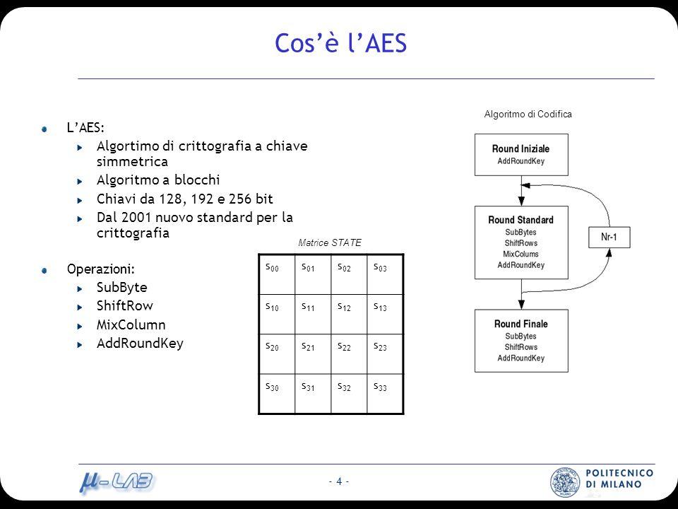 - 4 - Cosè lAES LAES: Algortimo di crittografia a chiave simmetrica Algoritmo a blocchi Chiavi da 128, 192 e 256 bit Dal 2001 nuovo standard per la crittografia Operazioni: SubByte ShiftRow MixColumn AddRoundKey s 00 s 01 s 02 s 03 s 10 s 11 s 12 s 13 s 20 s 21 s 22 s 23 s 30 s 31 s 32 s 33 Matrice STATE Algoritmo di Codifica