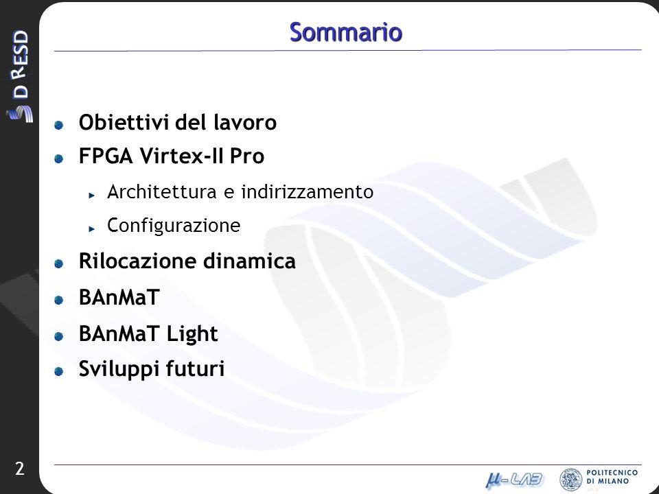 2 Sommario Obiettivi del lavoro FPGA Virtex-II Pro Architettura e indirizzamento Configurazione Rilocazione dinamica BAnMaT BAnMaT Light Sviluppi futu