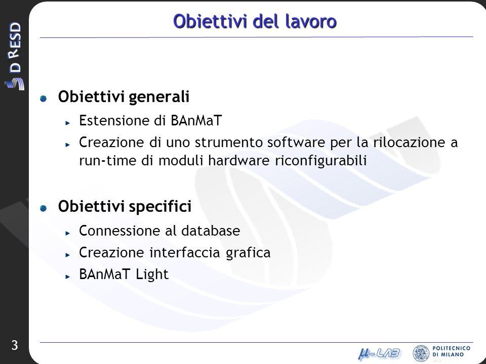 3 Obiettivi del lavoro Obiettivi generali Estensione di BAnMaT Creazione di uno strumento software per la rilocazione a run-time di moduli hardware riconfigurabili Obiettivi specifici Connessione al database Creazione interfaccia grafica BAnMaT Light