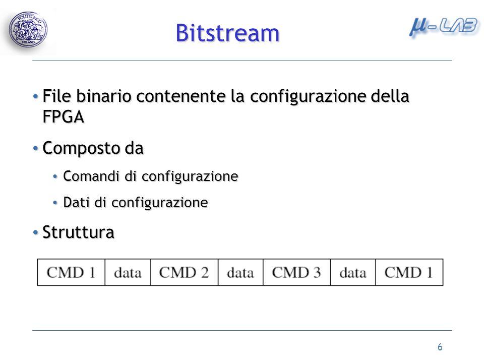 6 File binario contenente la configurazione della FPGA File binario contenente la configurazione della FPGA Composto da Composto da Comandi di configu