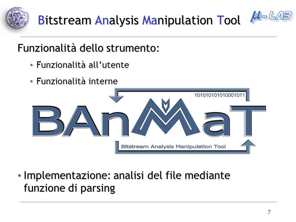7 Funzionalità dello strumento: Funzionalità allutente Funzionalità allutente Funzionalità interne Funzionalità interne Implementazione: analisi del f