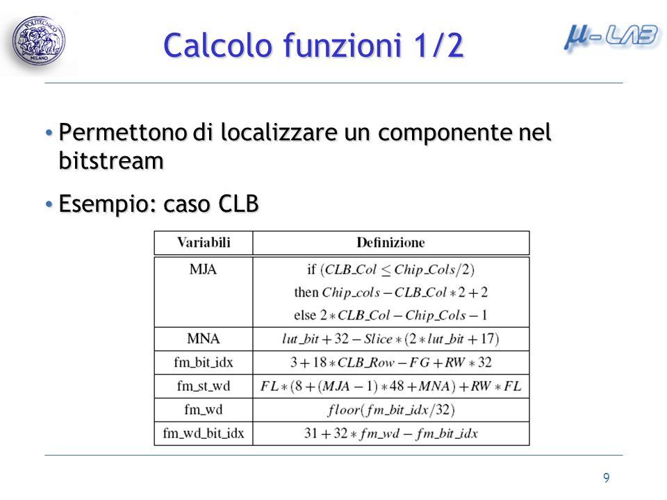 9 Permettono di localizzare un componente nel bitstream Permettono di localizzare un componente nel bitstream Esempio: caso CLB Esempio: caso CLB Calc