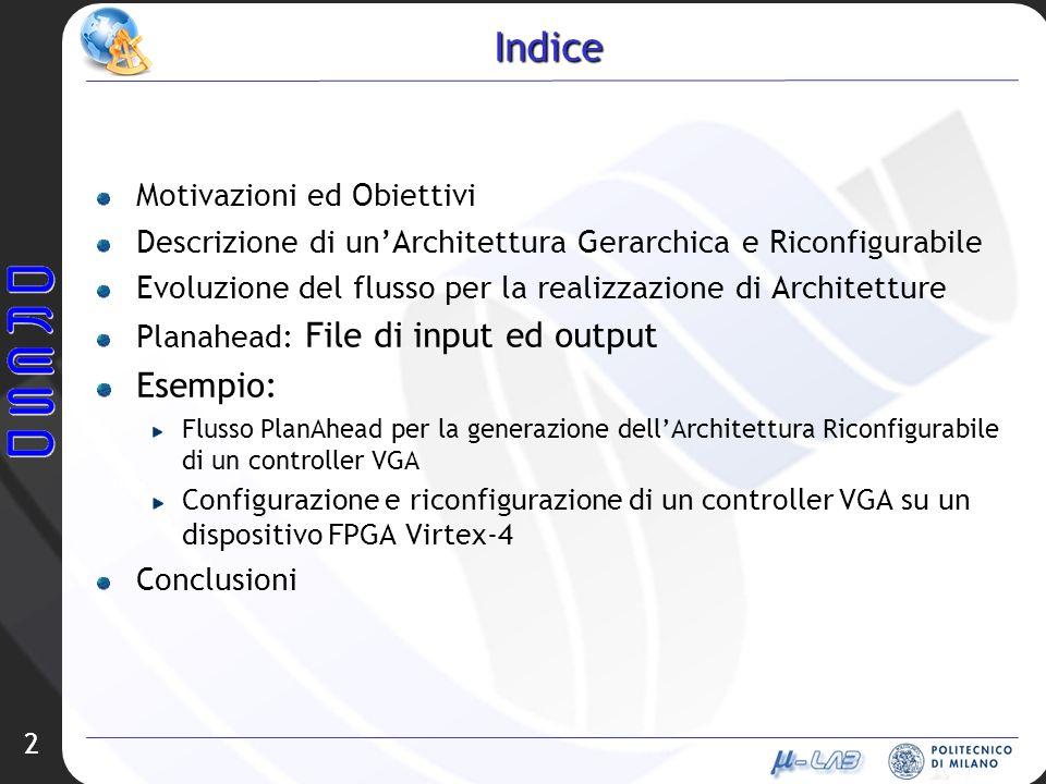 2 Indice Motivazioni ed Obiettivi Descrizione di unArchitettura Gerarchica e Riconfigurabile Evoluzione del flusso per la realizzazione di Architettur