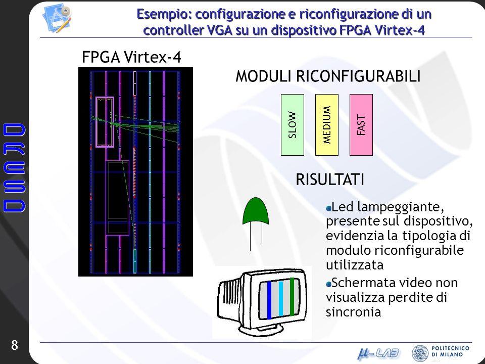8 Esempio: configurazione e riconfigurazione di un controller VGA su un dispositivo FPGA Virtex-4 MODULI RICONFIGURABILI MEDIUM SLOW FAST Led lampeggi