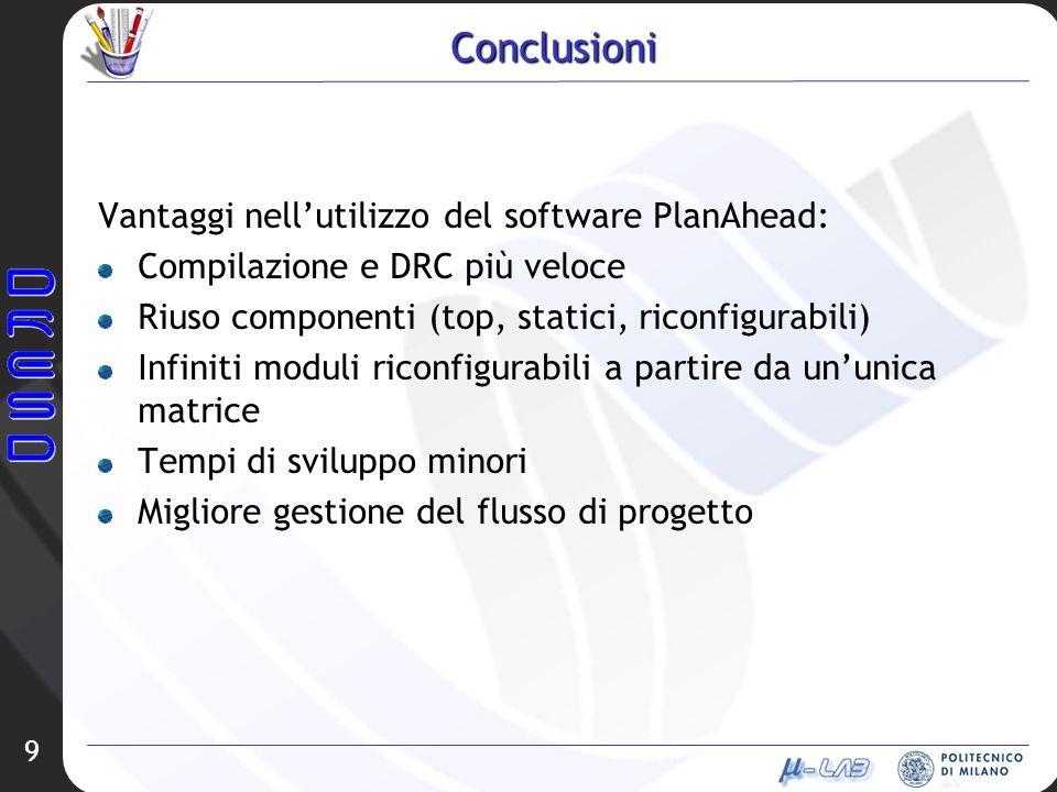 9 Conclusioni Vantaggi nellutilizzo del software PlanAhead: Compilazione e DRC più veloce Riuso componenti (top, statici, riconfigurabili) Infiniti mo