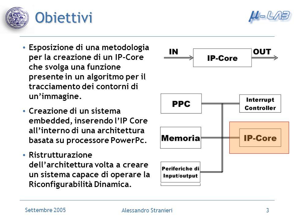 Settembre 2005 Alessandro Stranieri3 Obiettivi Esposizione di una metodologia per la creazione di un IP-Core che svolga una funzione presente in un algoritmo per il tracciamento dei contorni di unimmagine.