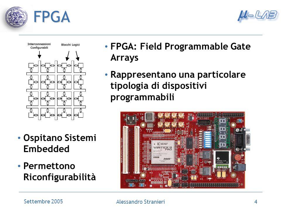 Settembre 2005 Alessandro Stranieri4 FPGA FPGA: Field Programmable Gate Arrays Rappresentano una particolare tipologia di dispositivi programmabili Ospitano Sistemi Embedded Permettono Riconfigurabilità