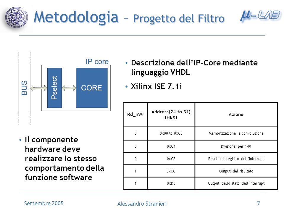 Settembre 2005 Alessandro Stranieri7 Metodologia – Progetto del Filtro Descrizione dellIP-Core mediante linguaggio VHDL Xilinx ISE 7.1i Rd_nWr Address(24 to 31) (HEX) Azione 00x00 to 0xC0Memorizzazione e convoluzione 00xC4Divisione per 140 00xC8Resetta il registro dellinterrupt 10xCCOutput del risultato 10xD0Output dello stato dellinterrupt Il componente hardware deve realizzare lo stesso comportamento della funzione software