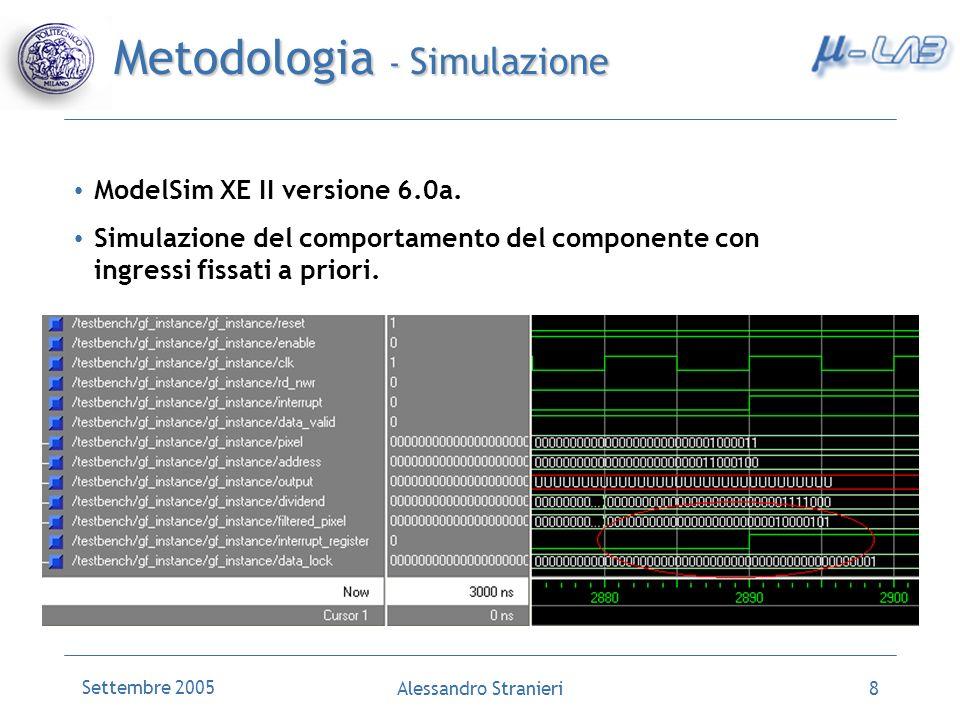 Settembre 2005 Alessandro Stranieri8 Metodologia - Simulazione ModelSim XE II versione 6.0a. Simulazione del comportamento del componente con ingressi