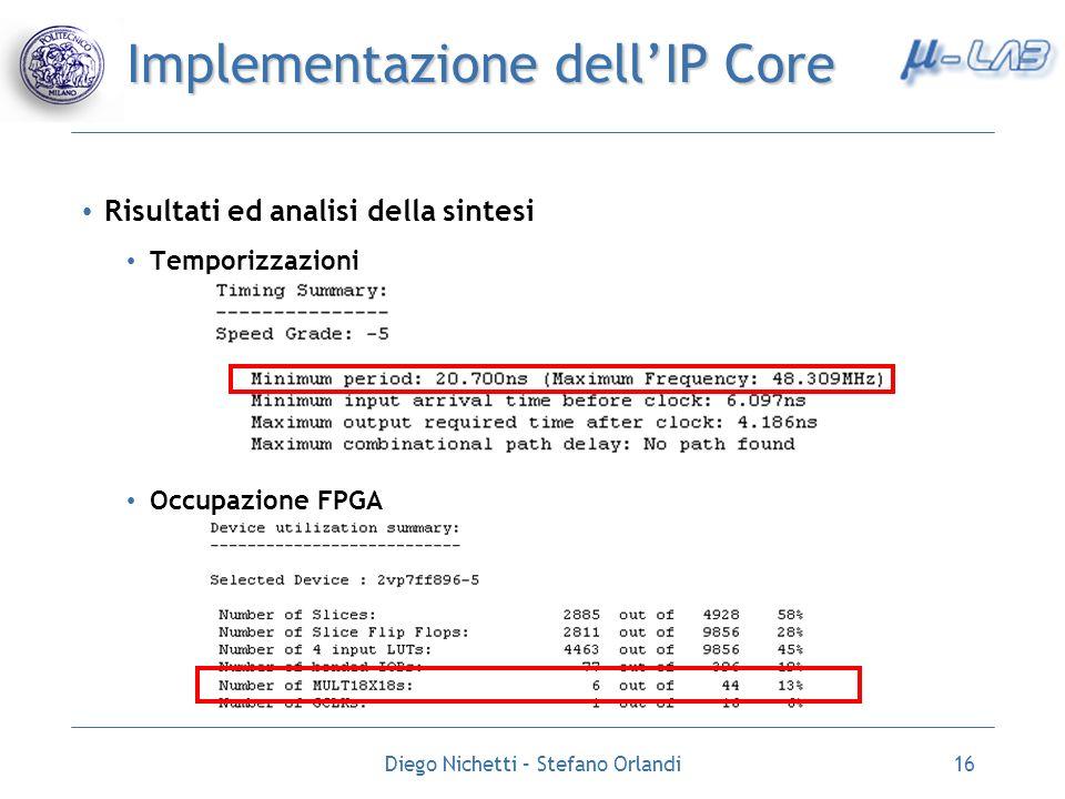 Diego Nichetti – Stefano Orlandi16 Implementazione dellIP Core Risultati ed analisi della sintesi Temporizzazioni Occupazione FPGA