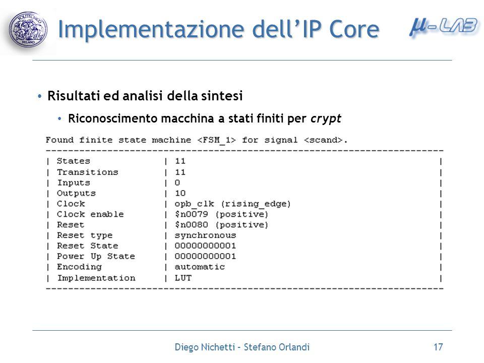 Diego Nichetti – Stefano Orlandi17 Implementazione dellIP Core Risultati ed analisi della sintesi Riconoscimento macchina a stati finiti per crypt
