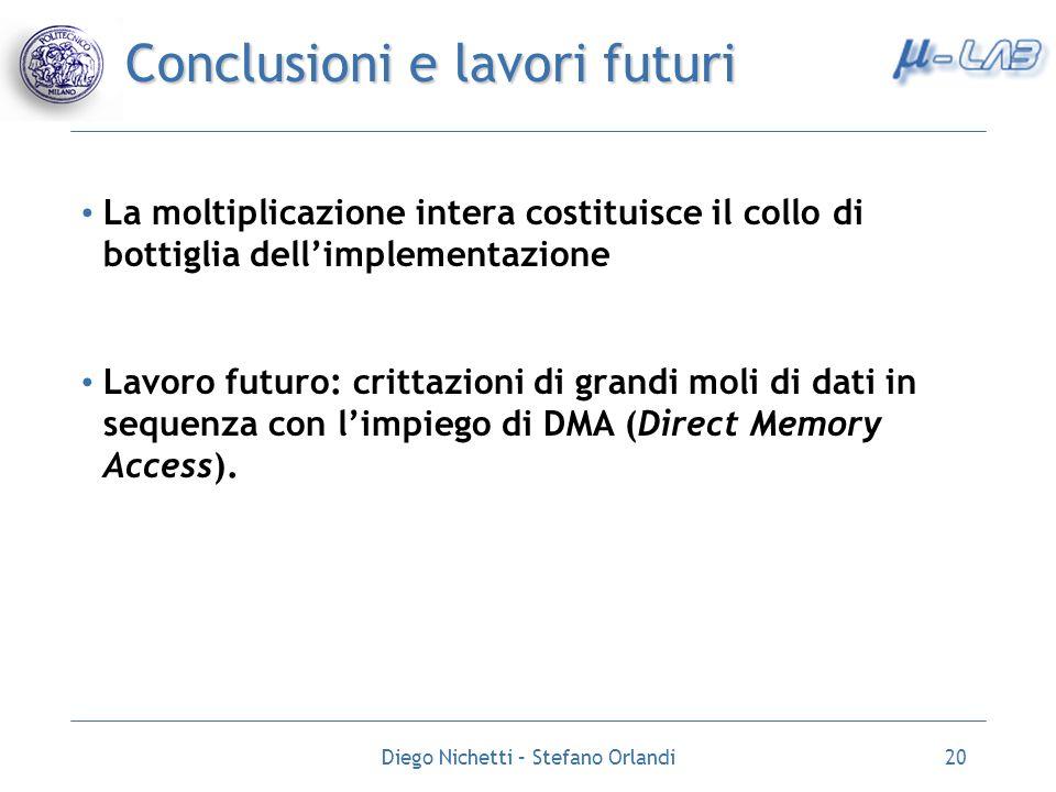 Diego Nichetti – Stefano Orlandi20 Conclusioni e lavori futuri La moltiplicazione intera costituisce il collo di bottiglia dellimplementazione Lavoro