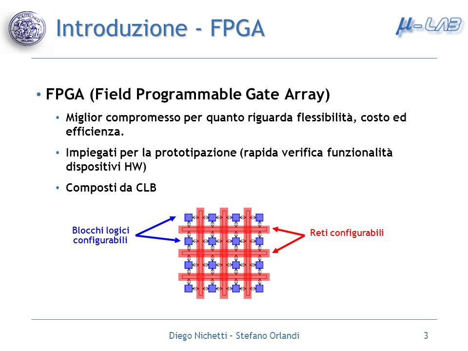 Diego Nichetti – Stefano Orlandi3 Introduzione - FPGA FPGA (Field Programmable Gate Array) Miglior compromesso per quanto riguarda flessibilità, costo