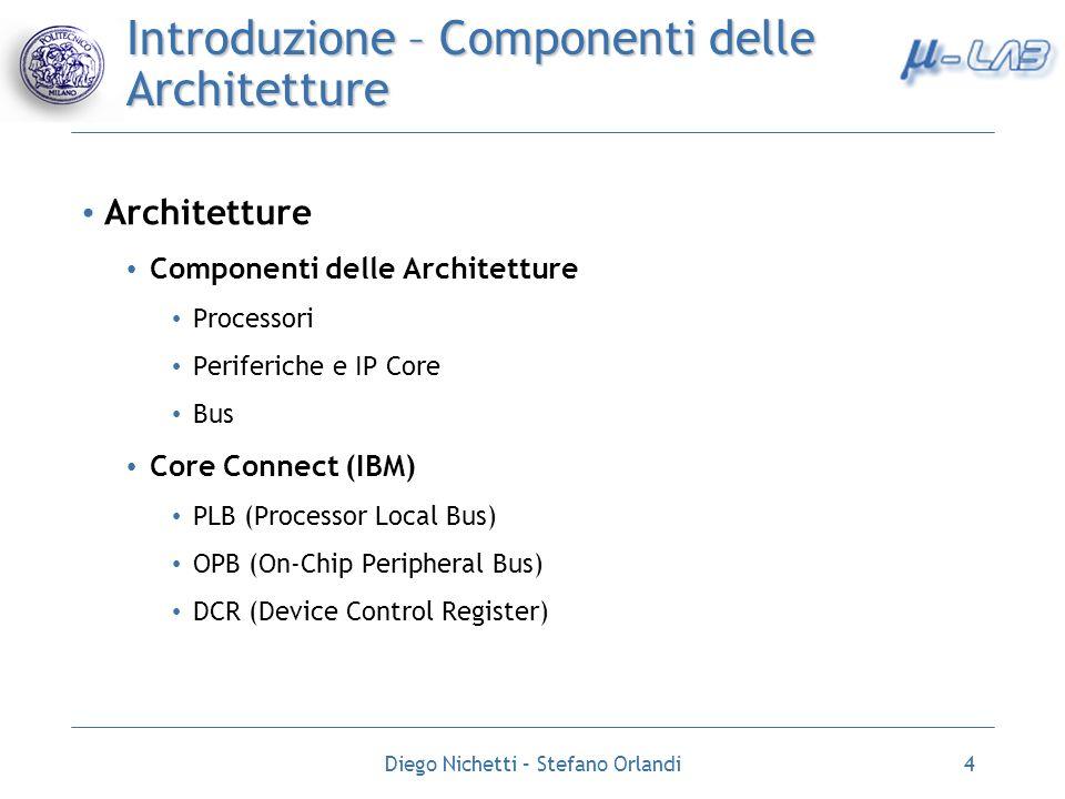 Diego Nichetti – Stefano Orlandi4 Introduzione – Componenti delle Architetture Architetture Componenti delle Architetture Processori Periferiche e IP
