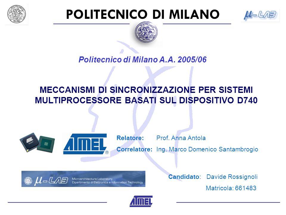 POLITECNICO DI MILANO Politecnico di Milano A.A. 2005/06 MECCANISMI DI SINCRONIZZAZIONE PER SISTEMI MULTIPROCESSORE BASATI SUL DISPOSITIVO D740 Candid