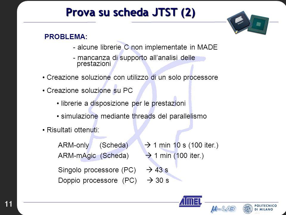 11 Creazione soluzione con utilizzo di un solo processore Creazione soluzione su PC librerie a disposizione per le prestazioni simulazione mediante th