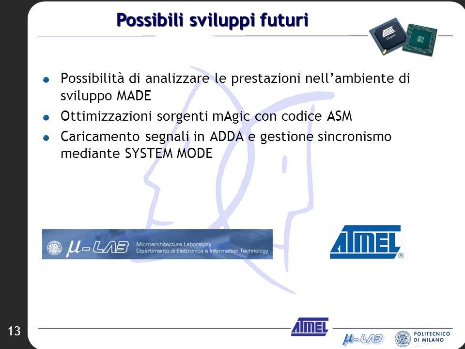 13 Possibilità di analizzare le prestazioni nellambiente di sviluppo MADE Ottimizzazioni sorgenti mAgic con codice ASM Caricamento segnali in ADDA e g