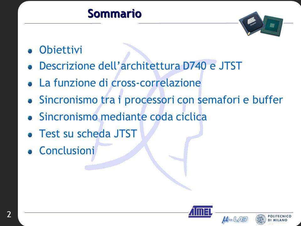 2 Sommario Obiettivi Descrizione dellarchitettura D740 e JTST La funzione di cross-correlazione Sincronismo tra i processori con semafori e buffer Sin