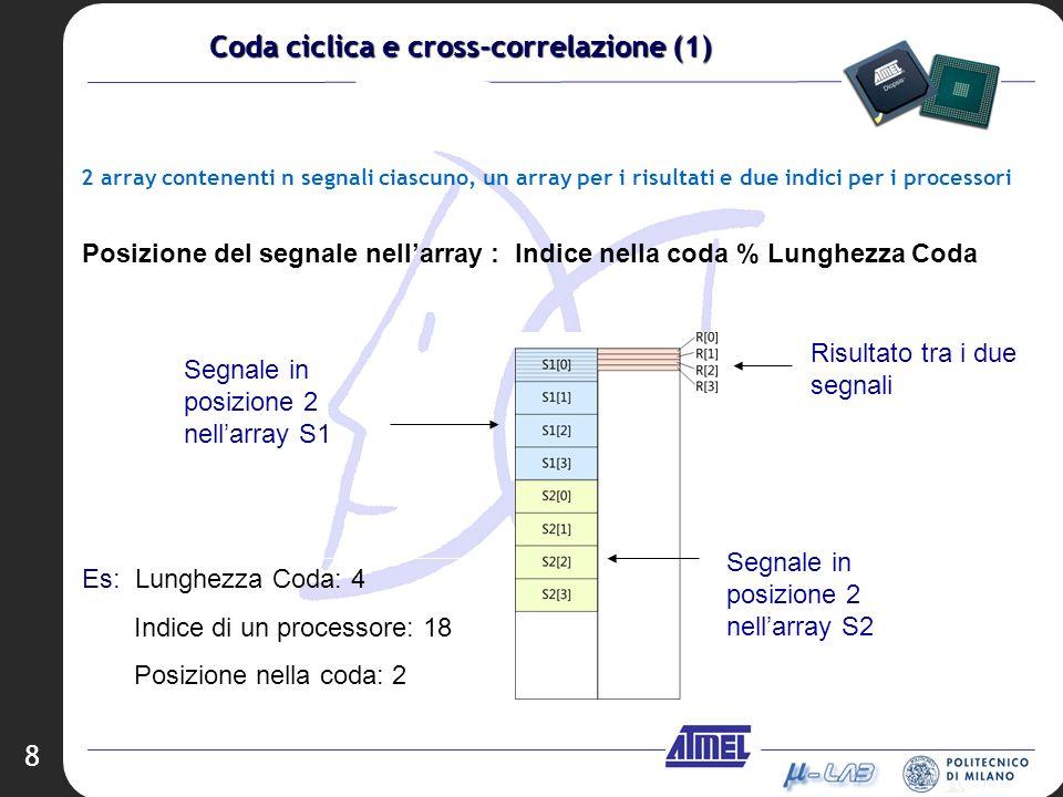 8 2 array contenenti n segnali ciascuno, un array per i risultati e due indici per i processori Posizione del segnale nellarray : Indice nella coda %