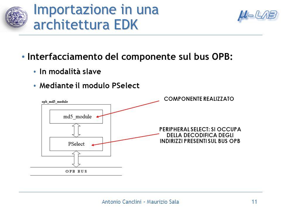 Antonio Canclini – Maurizio Sala11 Importazione in una architettura EDK Interfacciamento del componente sul bus OPB: In modalità slave Mediante il mod