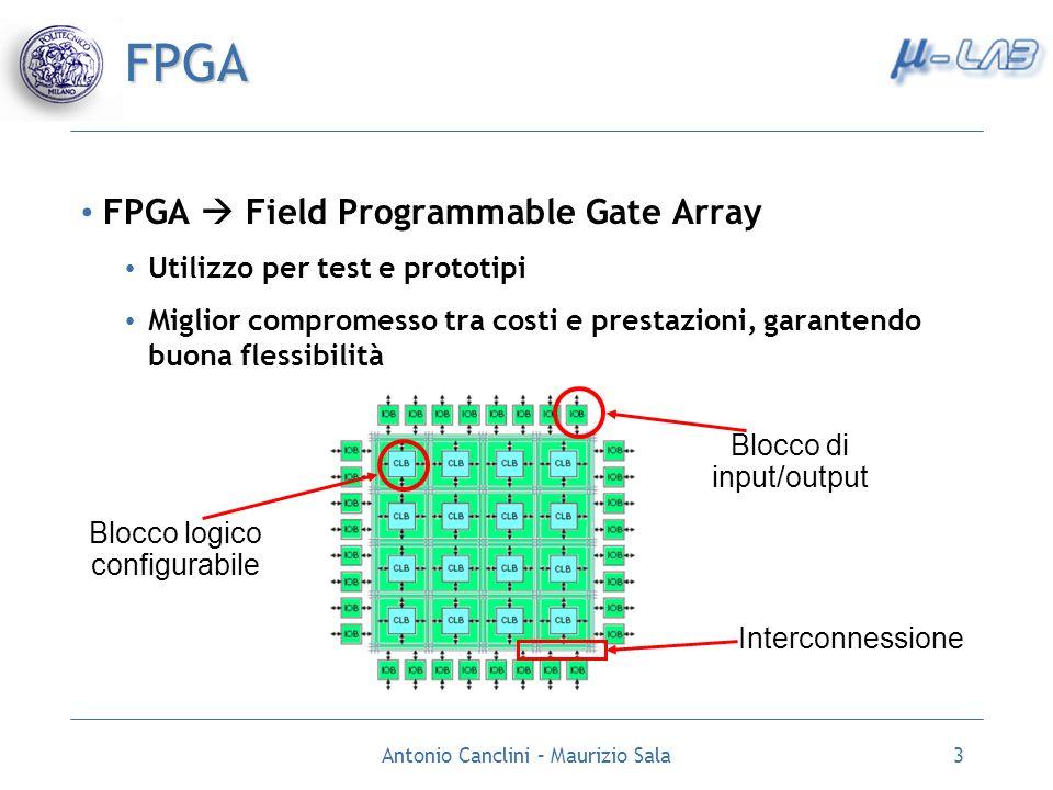 Antonio Canclini – Maurizio Sala3 FPGA FPGA Field Programmable Gate Array Utilizzo per test e prototipi Miglior compromesso tra costi e prestazioni, g