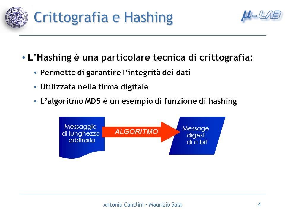 Antonio Canclini – Maurizio Sala5 Descrizione algoritmo MD5 Riceve in ingresso una stringa di lunghezza arbitraria e calcola un digest di 128 bit Strutturato in 5 passi, descritti nella specifica RFC 1321