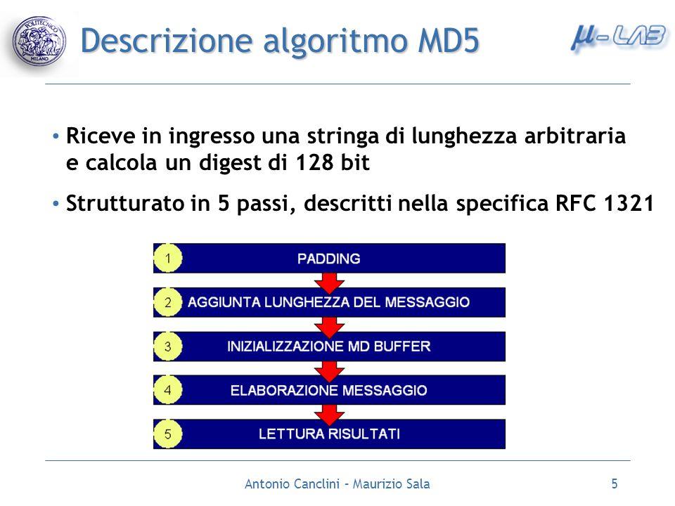 Antonio Canclini – Maurizio Sala5 Descrizione algoritmo MD5 Riceve in ingresso una stringa di lunghezza arbitraria e calcola un digest di 128 bit Stru