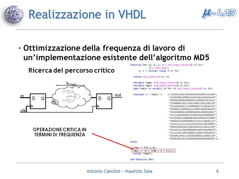 Antonio Canclini – Maurizio Sala6 Realizzazione in VHDL Ottimizzazione della frequenza di lavoro di unimplementazione esistente dellalgoritmo MD5 Rice