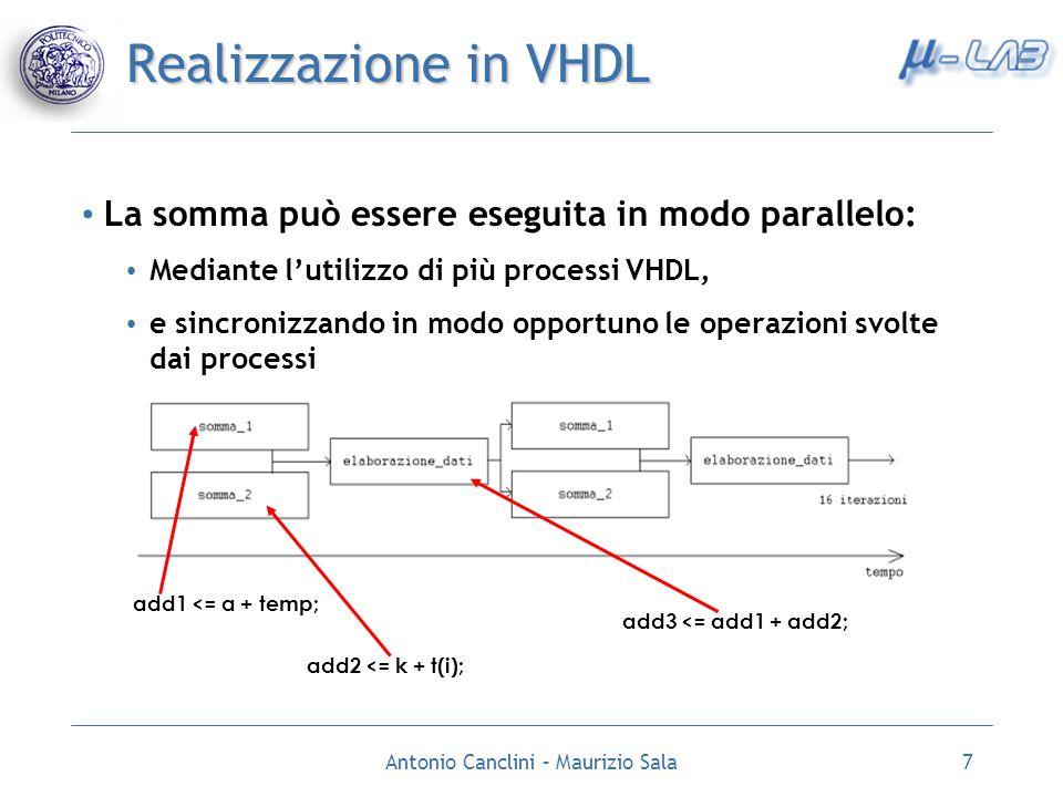 Antonio Canclini – Maurizio Sala8 Realizzazione in VHDL Implementazione dei 4 round dellalgoritmo MD5: I processi per il calcolo delle somme vengono replicati 4 volte SEGNALE nsw : CONTATORE CHE REGOLA LESECUZIONE DI UN ROUND SEGNALE round : MANTIENE LINFORMAZIONE SUL ROUND IN ESECUZIONE