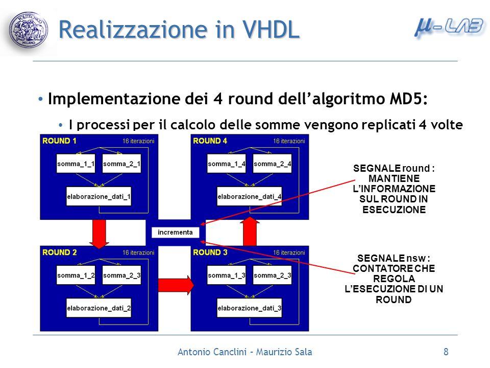 Antonio Canclini – Maurizio Sala8 Realizzazione in VHDL Implementazione dei 4 round dellalgoritmo MD5: I processi per il calcolo delle somme vengono r