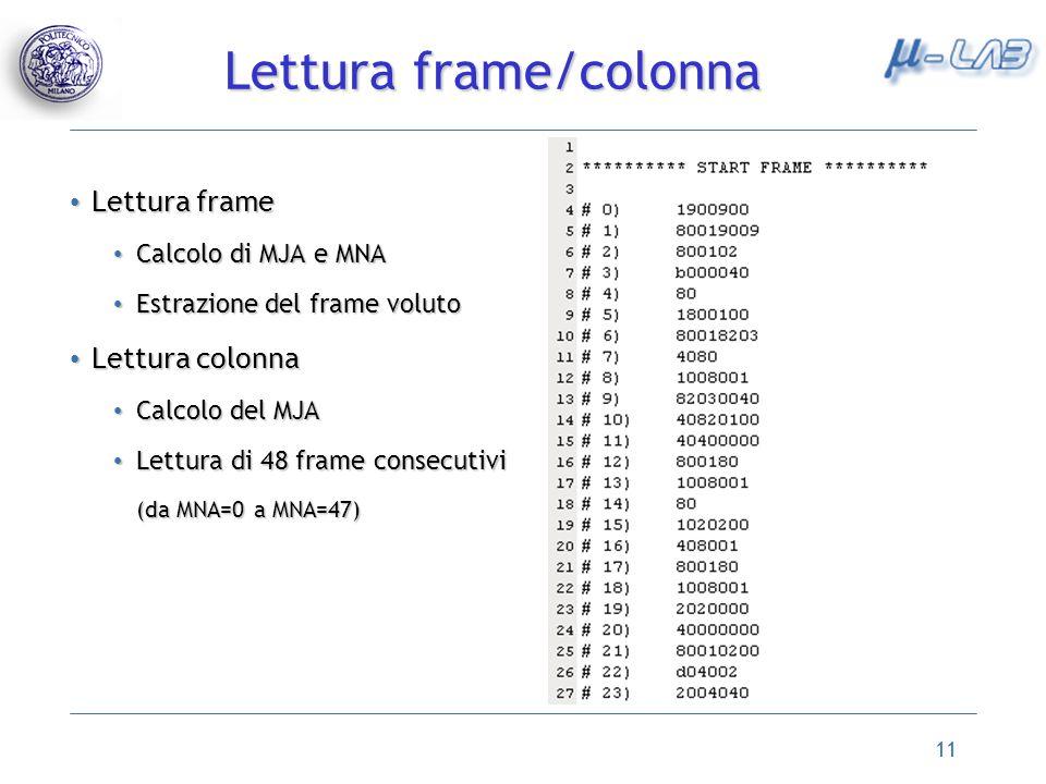 11 Lettura frame Lettura frame Calcolo di MJA e MNA Calcolo di MJA e MNA Estrazione del frame voluto Estrazione del frame voluto Lettura colonna Lettura colonna Calcolo del MJA Calcolo del MJA Lettura di 48 frame consecutivi Lettura di 48 frame consecutivi (da MNA=0 a MNA=47) Lettura frame/colonna