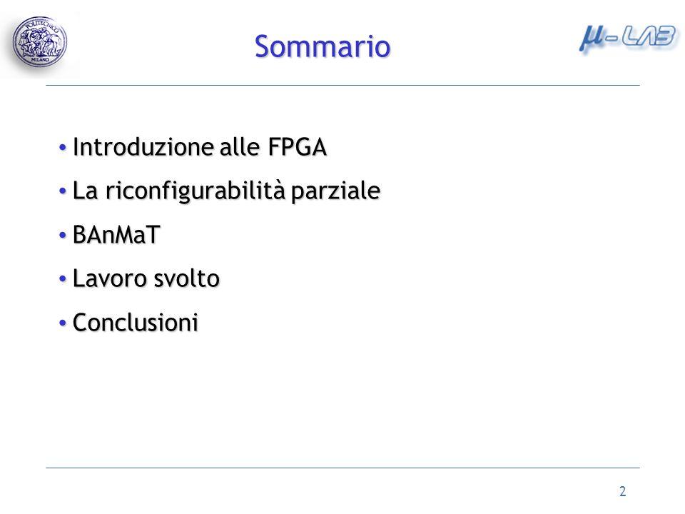 2 Sommario Introduzione alle FPGA Introduzione alle FPGA La riconfigurabilità parziale La riconfigurabilità parziale BAnMaT BAnMaT Lavoro svolto Lavoro svolto Conclusioni Conclusioni