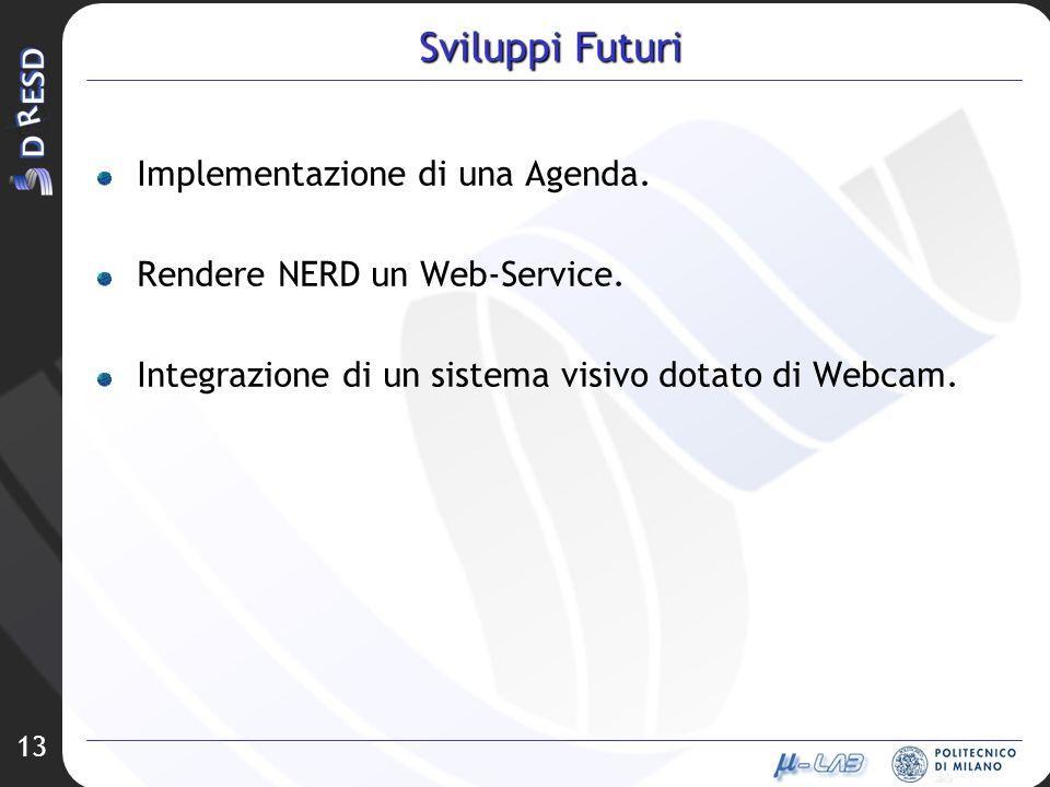 13 Sviluppi Futuri Implementazione di una Agenda. Rendere NERD un Web-Service. Integrazione di un sistema visivo dotato di Webcam.