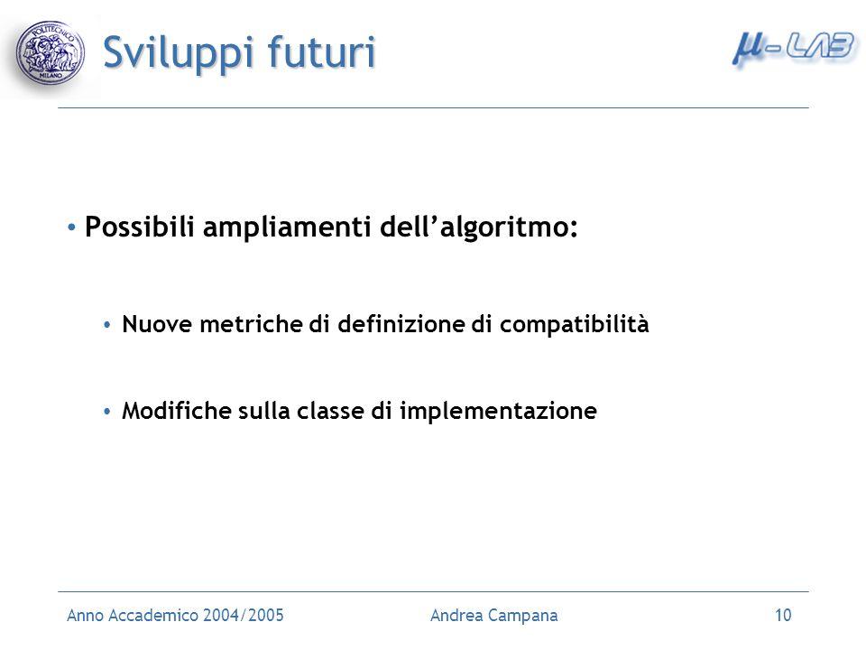 Anno Accademico 2004/2005Andrea Campana10 Sviluppi futuri Possibili ampliamenti dellalgoritmo: Nuove metriche di definizione di compatibilità Modifich