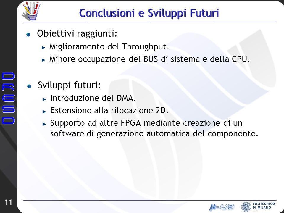 11 Conclusioni e Sviluppi Futuri Obiettivi raggiunti: Miglioramento del Throughput.
