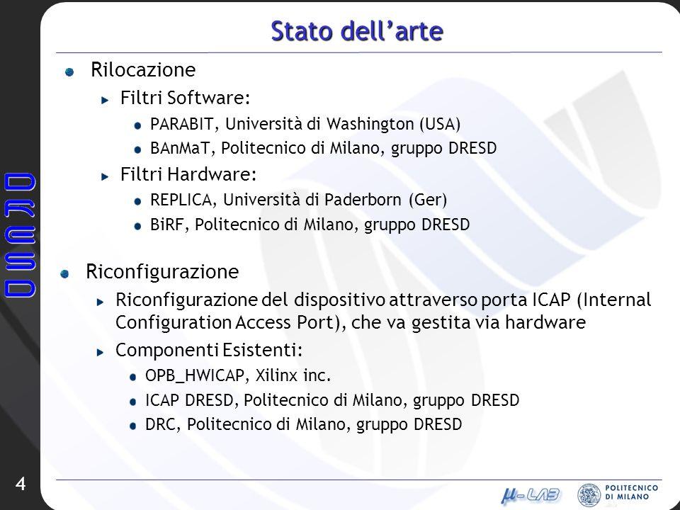 Stato dellarte Rilocazione Filtri Software: PARABIT, Università di Washington (USA) BAnMaT, Politecnico di Milano, gruppo DRESD Filtri Hardware: REPLICA, Università di Paderborn (Ger) BiRF, Politecnico di Milano, gruppo DRESD 4 Riconfigurazione Riconfigurazione del dispositivo attraverso porta ICAP (Internal Configuration Access Port), che va gestita via hardware Componenti Esistenti: OPB_HWICAP, Xilinx inc.