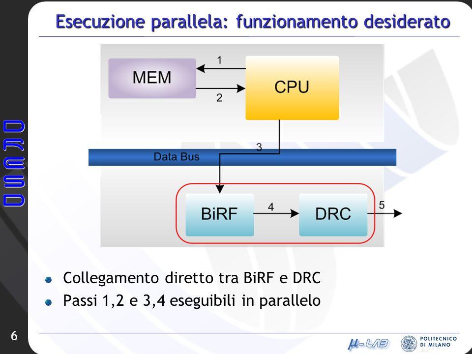 Esecuzione parallela: funzionamento desiderato 6 Collegamento diretto tra BiRF e DRC Passi 1,2 e 3,4 eseguibili in parallelo