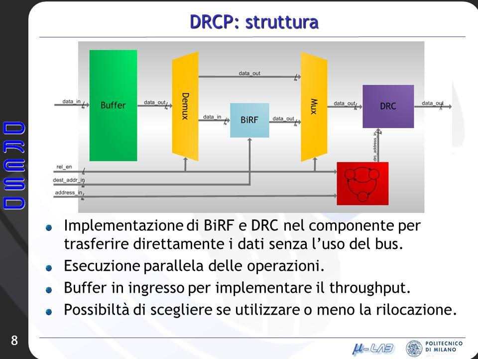 DRCP: struttura Implementazione di BiRF e DRC nel componente per trasferire direttamente i dati senza luso del bus.