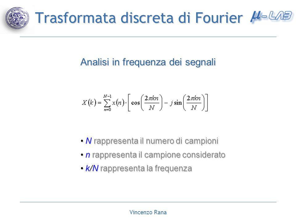 Vincenzo Rana Trasformata discreta di Fourier Analisi in frequenza dei segnali N rappresenta il numero di campioni N rappresenta il numero di campioni