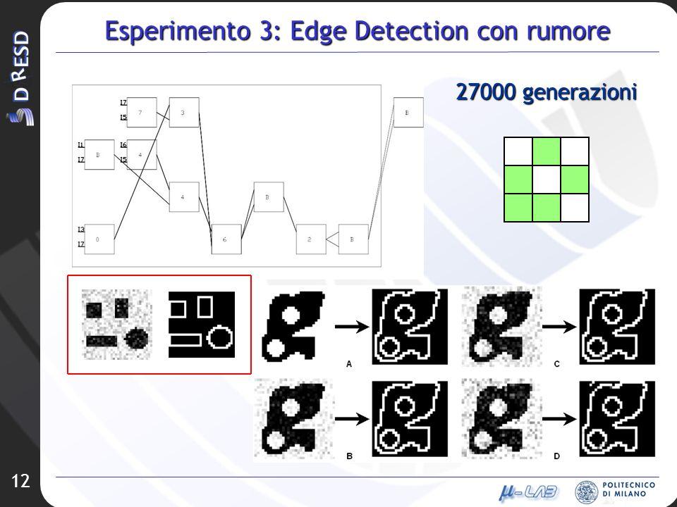 12 Esperimento 3: Edge Detection con rumore 27000 generazioni