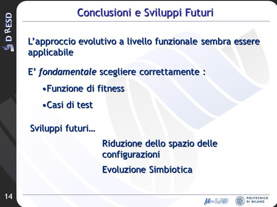 14 Conclusioni e Sviluppi Futuri Lapproccio evolutivo a livello funzionale sembra essere applicabile E fondamentale scegliere correttamente : Funzione di fitnessFunzione di fitness Casi di testCasi di test Sviluppi futuri… Evoluzione Simbiotica Riduzione dello spazio delle configurazioni