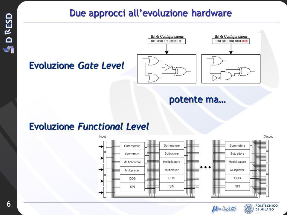 6 Due approcci allevoluzione hardware Evoluzione Gate Level Evoluzione Functional Level potente ma…