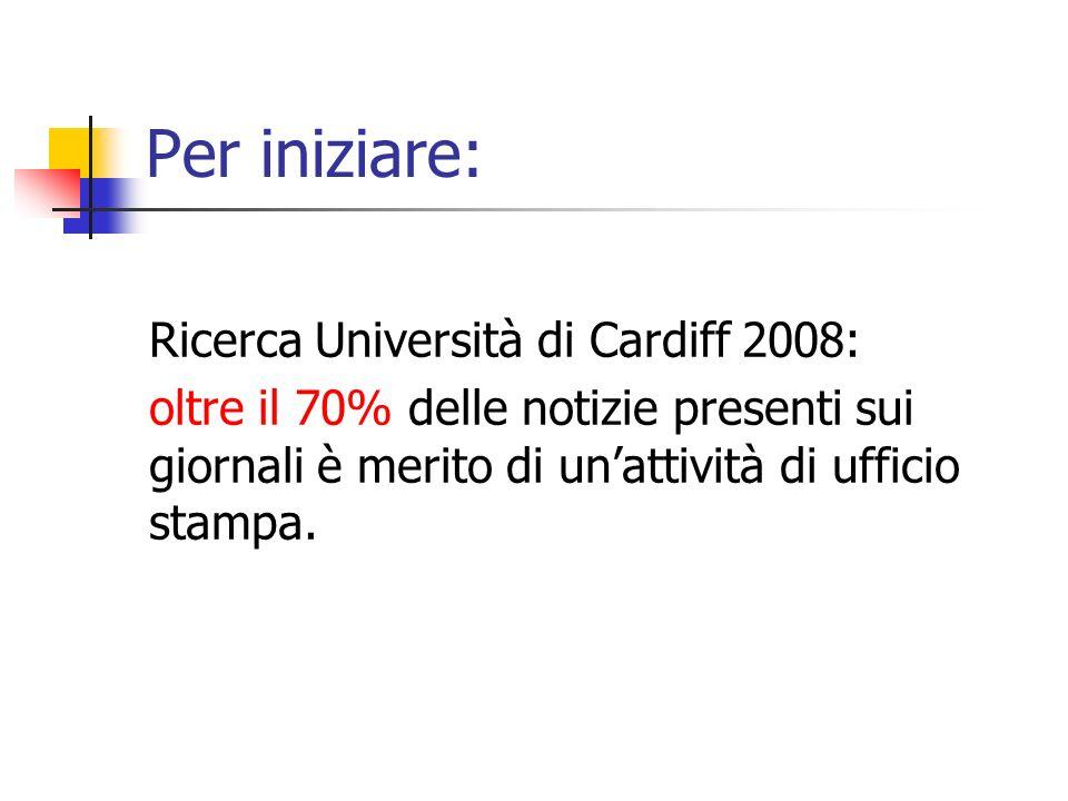 Per iniziare: Ricerca Università di Cardiff 2008: oltre il 70% delle notizie presenti sui giornali è merito di unattività di ufficio stampa.