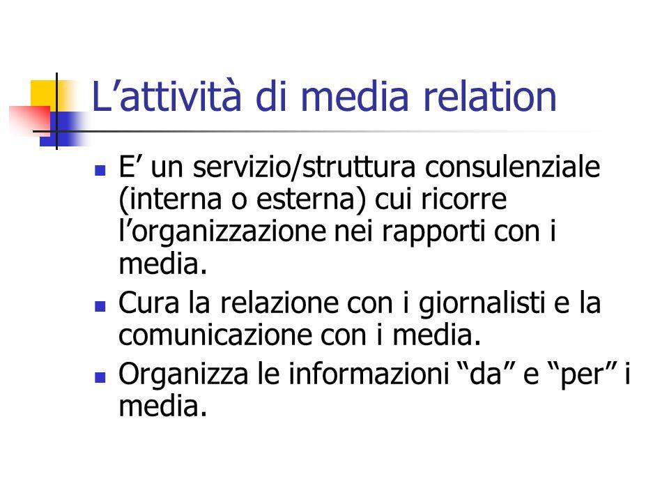 Lattività di media relation E un servizio/struttura consulenziale (interna o esterna) cui ricorre lorganizzazione nei rapporti con i media.