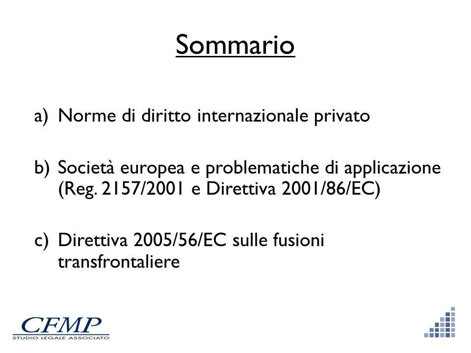Sommario a)Norme di diritto internazionale privato b)Società europea e problematiche di applicazione (Reg. 2157/2001 e Direttiva 2001/86/EC) c)Diretti